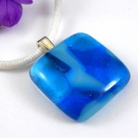 Turquoise Layers Square Pendant Necklace, Handmade Fused Glass