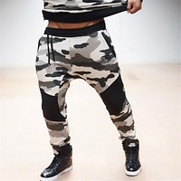 free shipping 2017 New Low rise Military skinny Men Pants Camouflage Harem Personality Male Plus Size pencil sweatpants trousers