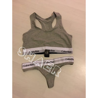 Ck calvin klein fashion GREY underwear set lingerie bra and thong pants stretch jersey. Size S M L 6 8 10 12 Leave a Note with SIZE