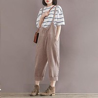 Rompers Women Jumpsuit 2016 Summer Vintage O Neck Sleeveless Sleeveless Cotton Linen Harem Playsuits Baggy Casual Overalls