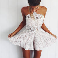 Summer Womens Playsuits 2016  Sexy  Lace Backless Women Jumpsuit Romper One Piece Elegant Beach Playsuit Overalls For Women