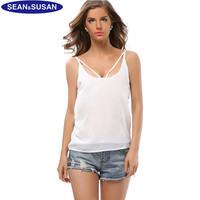 Sean&susan Sexy Women Chiffon Blouse Crop Tank Top Women Loose Vest Ladies Sleeveless Shirt Casual Cami New Summer Size S-XXL