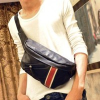 Men's Bag  With Ribbons and Zipper Designed