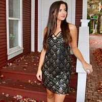 Light Up The Room Sequin & Suede Dress