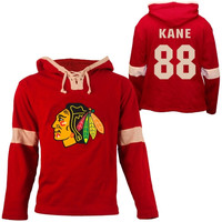 Old Time Hockey Patrick Kane Chicago Blackhawks Grant Lace Alum Name & Number Pullover Hoodie - Red