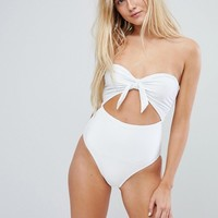 New Look Tie Front Rib Swimsuit at asos.com