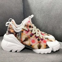 Dior D-connect Sneaker In Green Kaleidoscope Printed Neoprene - Best Online Sale
