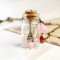 Paris Bottle necklace - For traveler - From Paris with Love - Free Shipping