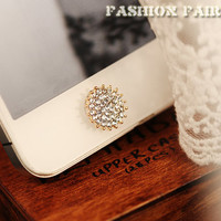 Crystal Sunflower Home Button Sticker for iPhone 4/4S, iPhone 5/5S/5C, iPad, iPad Mini, Home Key Sticker, Apple Accessories, Stylish, New