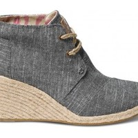 Black Chambray Women's Desert Wedges