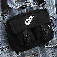 NIKE New fashion letter hook print shoulder bag crossbody bag Black
