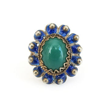 Italian Silver Ring, 800 Silver, Gold Plated Vermeil, Blue Green Enamel, Genoa Italy, Jade Glass, Vintage Ring, Vintage Jewelry