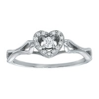Diamond Heart Fashion Ring 1/10ctw