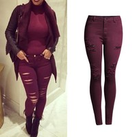 Summer Fashion Ripped Holes Strong Character Slim High Rise Stretch Pants Plus Size Skinny Pants [11597531279]
