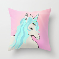 Unicorn Throw Pillow Cover Includes Pillow Insert - Pink and Blue - Sofa Pillow - Bed Pillow - decorative Pillow - Made to Order