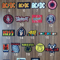 Rock Music Band 25 Model Stray Cats Rockabilly Rebels, AC DC, Green Day, Slipknot,The Beatles  Embroidered Iron on Patch/ Sew you can choose