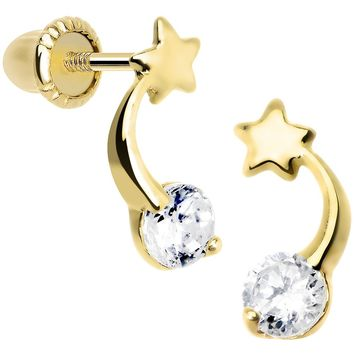 14KT Yellow Gold CZ Shooting Star Youth Screwback Earrings