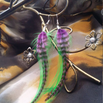 Purple and Green Feather Earrings