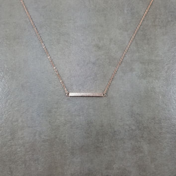 Bar Straight Shiny Rose Gold Necklace