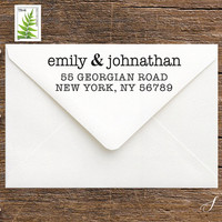 Personalized Wedding Gift for Couples - Self-Inking, Wood Address Stamp for Stationery, Christmas Cards, Thank You's- First Home Gift (S103)