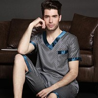 Thoshine 2017 Spring Summer Autumn Men Satin Silk Pijamas Sets of T-shirt & Shorts Male Nightwear Casual Home Clothes Plus Size