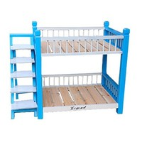 Wooden Indoor Dog House Double Panel Deck Pet Bunk Bed With Pet Stairs For Puppy Dog Cat Medium Blue