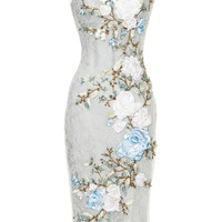 Chantilly Lace Cocktail Dress With 3D Silk Ribbon Roses by Marchesa - Moda Operandi