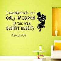 Wall Decals Alice in Wonderland Cheshire Cat Quote Decal Imagination is the only weapon Sayings Sticker Vinyl Decals Wall Decor Murals Z320