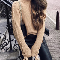 Explosion models ladies sleeves with round neck long sleeves with sweater