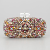 Marchesa Lilly Medium Crystal Minaudiere Clutch, Pink Multi
