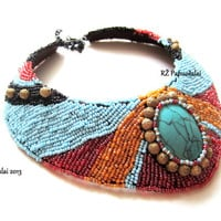 Spring, prime, Bead Embroidered necklace, seed bead necklace, embroidery necklace, african jewelry colors, asian necklace, spring trend