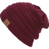 Wine Thick Slouchy Knit Oversized Beanie Cap Hat