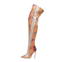 Women Snakeskin Over The Knee Pointed High Heel Fashion Boots