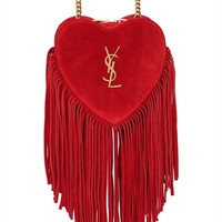 SAINT LAURENT - SMALL LOVE FRINGED SUEDE BAG - LUISAVIAROMA
