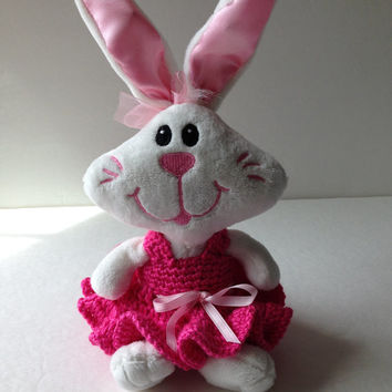 Bunny Dressed in Crochet Clothes - Funny Bunny - Plush Rabbit with Crochet Dress - Hot Pink - Handmade Crochet - Ready to Ship
