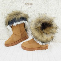 Furry Tan Faux Fur Lined Flat Winter Boots US Women's 7-11 Chi Chi