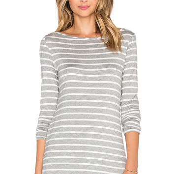 amour vert Francoise Tee in Heather Grey & Ivory Stripe