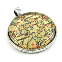 Vintage Map Pendant of Germany in Glass Tile Circle