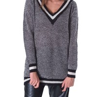 New England Varsity Sweater Tunic Top by mo:vint - Black/Ivory