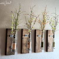 Wine Bottle Wall Vase / Set of Four - Rustic Modern Decorations - Wine Decor - Wine Bottle Holders - Wine Bottle Set - Farmhouse Chic Style