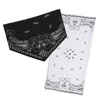 Baby Bandana Bib and Burp Pad Set in Black and White