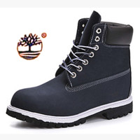 Timberland Rhubarb boots for men and women shoes waterproof Martin boots lovers Navy blue-black