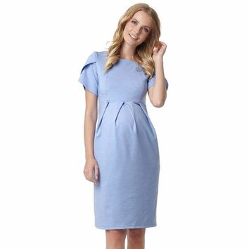"Dress ""Cameo"" for pregnant and lactating women; color: blue melange"