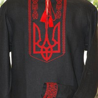 """Men's embroidered flax shirt """"Tryzub"""" black"""