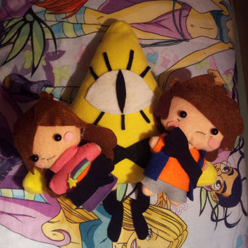 Gravity Falls Plush - Dipper, Mabel, Bill - all in Set - MADE TO ORDER