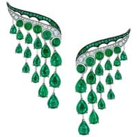 Vanleles Diamond Gemfield Emerald Legends of Africa High End Earrings