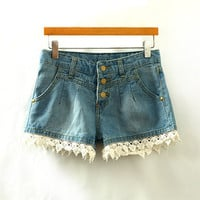 Blue Lace Trimmed Denim Shorts