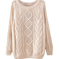Beige Knitted Sweatshirt