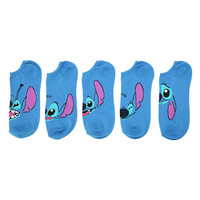 Disney Lilo & Stitch Faces No-Show Socks 5 Pair