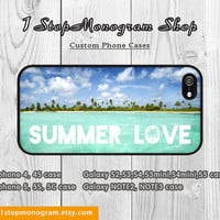 SUMMER LOVE iPhone Case, Palm Trees iPhone 4S Case Ocean iPhone 5 Case Sandbeach iPhone 4 Case iPhone 5S Case Summer Surfer Quote Phone Case